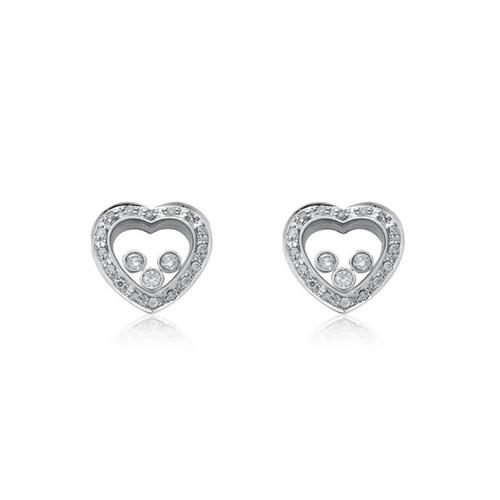 Floating Cubic Zirconia Heart Silver Earrings