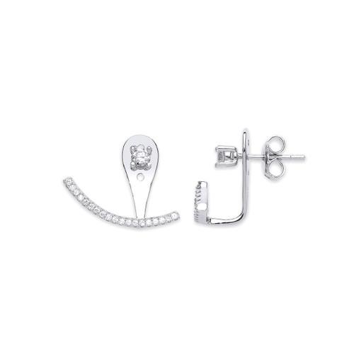 Silver Cubic Zirconia Ear Stud Cuff Wrap Earrings