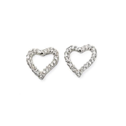 Silver Heart Cubic Zirconia Stud Earrings