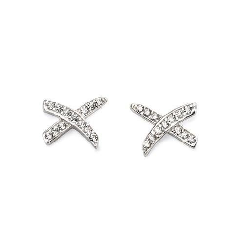 Sliver Kiss Cubic Zirconia Stud Earrings