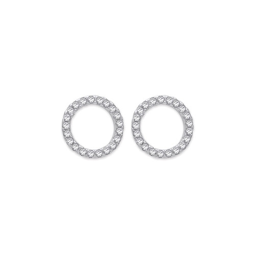 Sterling Silver Circle of Life Cubic Zirconia Stud Earrings