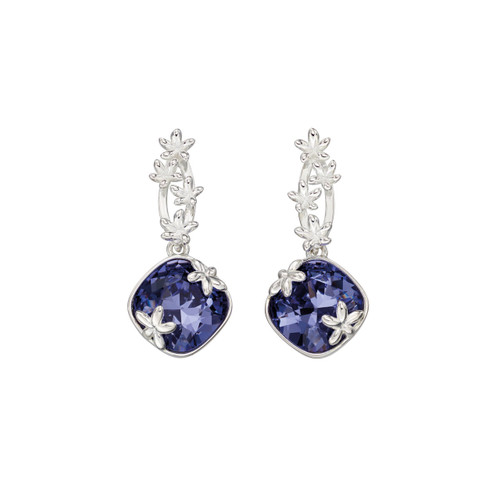Sterling Silver Tanzanite Swarovski Crystal Flower Drop Earrings