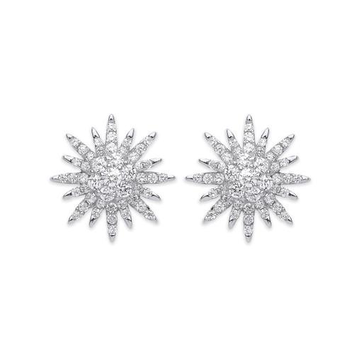 Sterling Silver Starburst Cubic Zirconia Stud Earrings