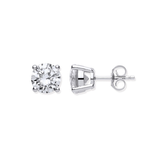 Sterling Silver 4mm Round Cubic Zirconia Claw Set Stud Earrings