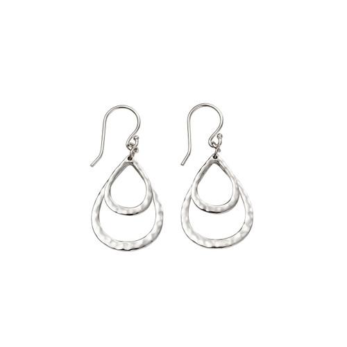 Hammered Double Teardrop Silver Earings