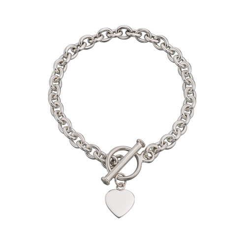 Sterling Silver Heart Charm Toggle Bracelet