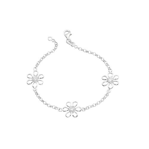 Sterling Silver Cubic Zirconia Flower Bracelet