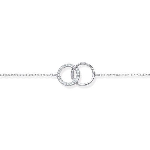 Interlocking Circle Cubic Zirconia Silver Bracelet