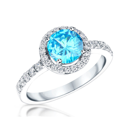 Sterling Silver Round Ocean Blue Cubic Zirconia Halo Ring
