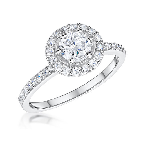 Round Clear Cubic Zirconia Silver Halo Ring