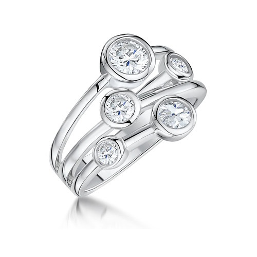 Sterling Silver 5 Cubic Zirconia Raindance Style Ring