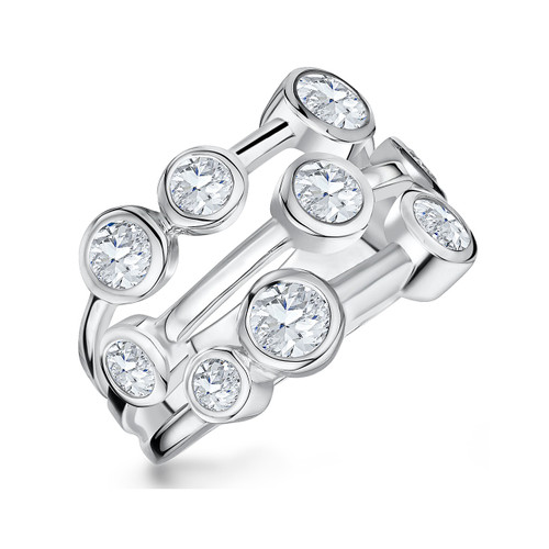 Sterling Silver 9 Cubic Zirconia Raindance Style Ring