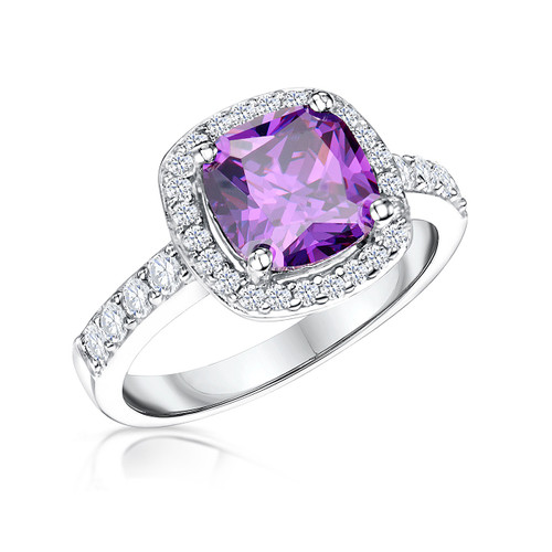 Sterling Silver Cushion Shaped Amethyst Cubic Zirconia Halo Ring