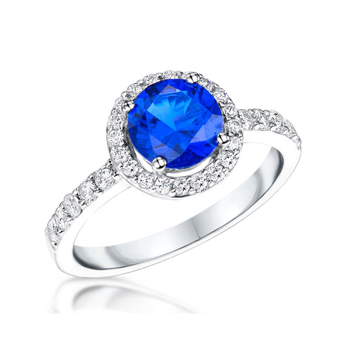 Sterling Silver Round Sapphire Cubic Zirconia Halo Ring