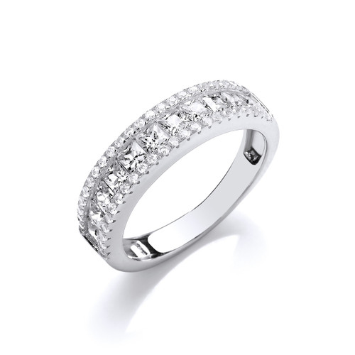 Sterling Silver Princess and Round Cubic Zirconia Half Eternity Ring