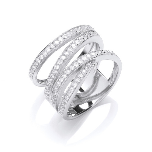 Sterling Silver Multi Band Cubic Zirconia Ring