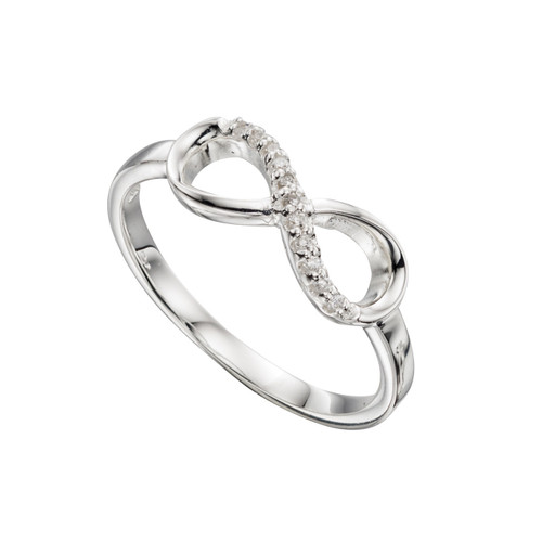 Cubic Zirconia Silver Infinity Ring