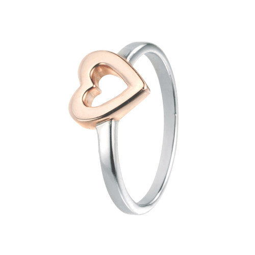 Rose Gold Open Heart Silver Ring