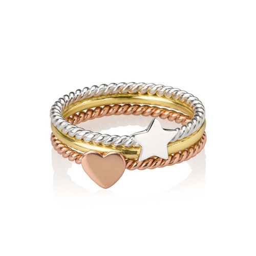 3 Colour Heart and Star Design Silver Stacking Ring