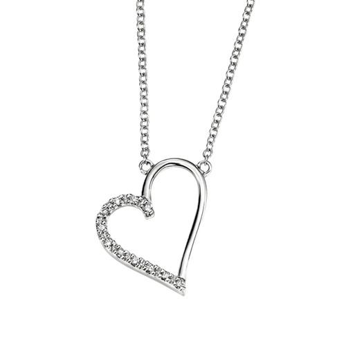 9ct White Gold Diamond Heart Pendant