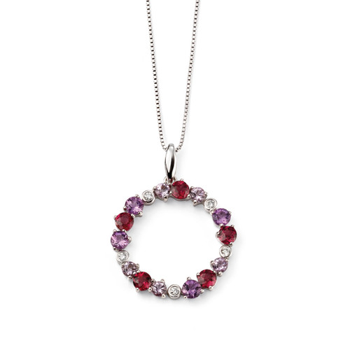 9ct White Gold Diamond Amethyst and Garnet Circle Pendant