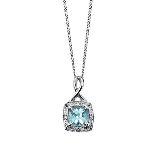 9ct White Gold Diamond and Aquamarine Pendant
