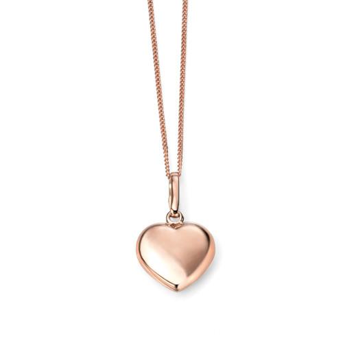 9ct Rose Gold Plain Heart Pendant