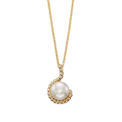 9ct Yellow Gold Freshwater Pearl Rope Pendant