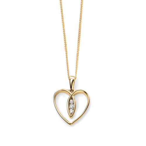 9ct Yellow Gold Diamond Open Heart Necklace