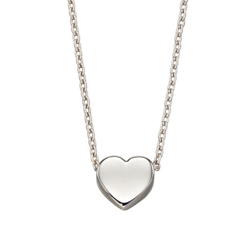 9ct White Gold Plain Heart Necklace
