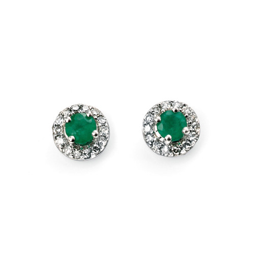 9ct White Gold Round Emerald and Diamond Halo Earrings