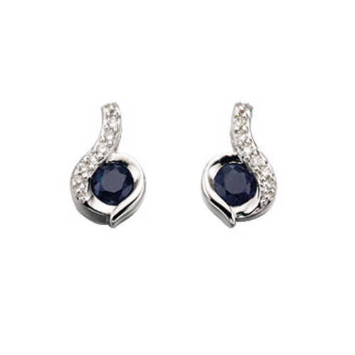 9ct White Gold Blue Sapphire and Diamond Swirl Earrings