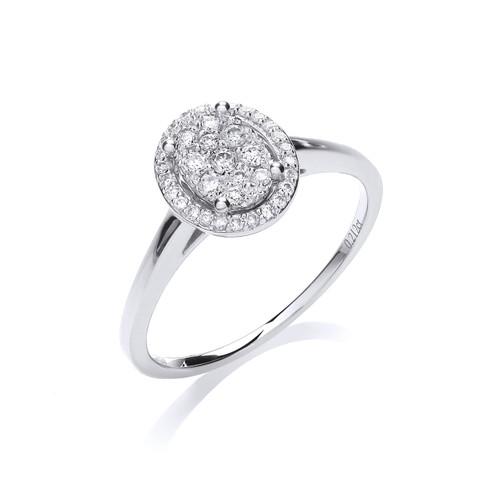 18ct White Gold 0.21ct Brilliant Cut Diamond Halo Ring
