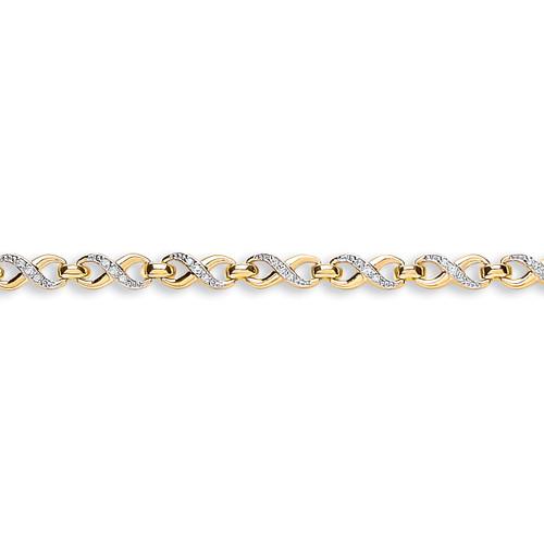 9ct Yellow Gold Figure of 8 Link Cubic Zirconia Bracelet