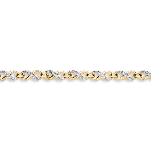 9ct Yellow Gold Figure of 8 Link Cubic Zirconia Bracelet
