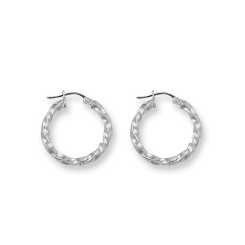 9ct White Gold Twisted Hoop Earrings