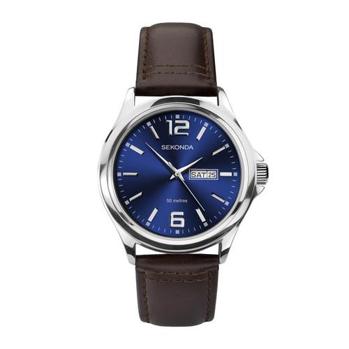 Sekonda Mens Classic Brown Leather Strap Watch 1654
