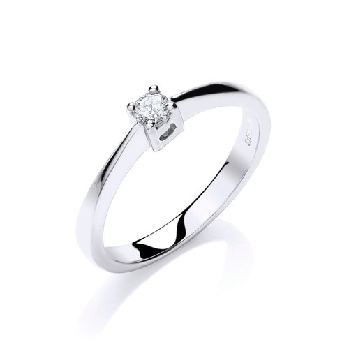 9ct White Gold 0.10ct Brilliant Cut Diamond Solitaire Ring