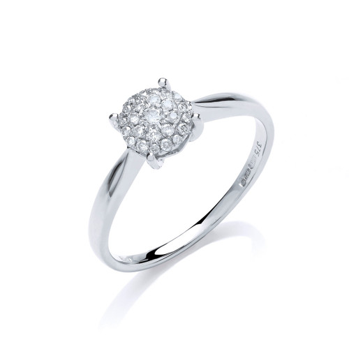 9ct White Gold 0.15ct Brilliant Cut Pave Diamond Ring