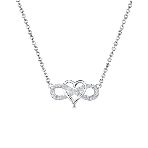 Sterling Silver Cubic Zirconia Infinity Pendant with Heart