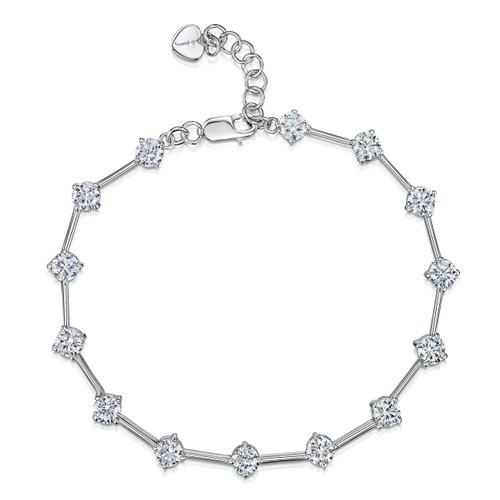 Jools Sterling Silver Cubic Zirconia Bar Bracelet
