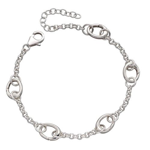 Sterling Silver Five Space Charm Bracelet