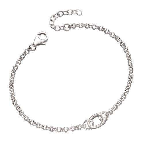 Sterling Silver Single Space Charm Bracelet