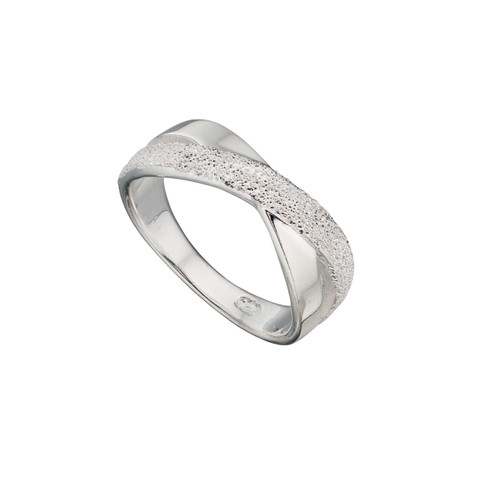 Sterling Silver Diamond Cut Cross Over Ring
