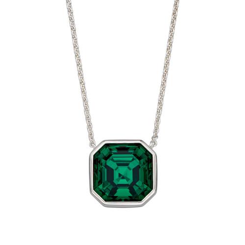 Sterling Silver Emerald Swarovski Asscher Cut Pendant