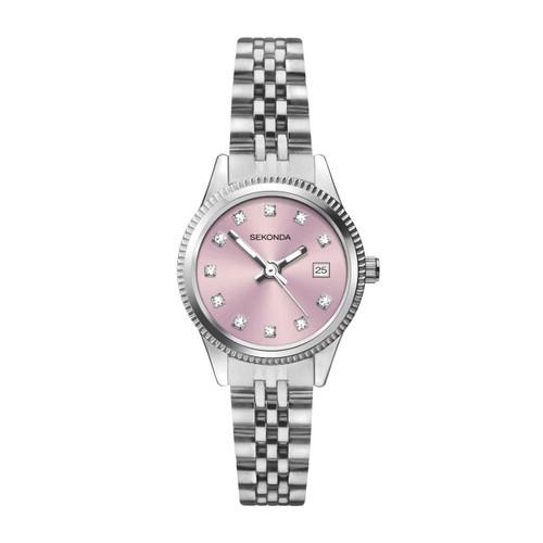 Sekonda Ladies Pink Face Stainless Steel Watch 2762