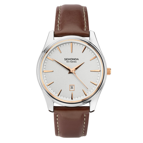 Sekonda Gents Brown Leather Strap Watch 1783