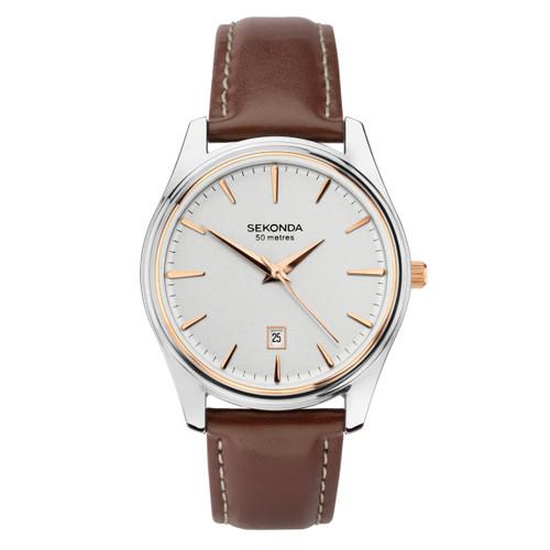 Sekonda Gents Brown Leather Strap Watch 1783