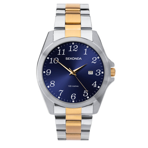 Sekonda Gents Blue Face Bi Metal Stainless Steel Watch 1638