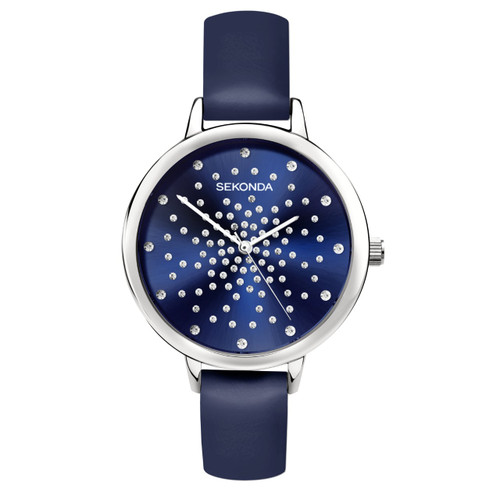 Sekonda Ladies Blue Leather Strap Watch 2944